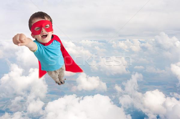 Süper kahraman çocuk erkek uçan hava üzerinde Stok fotoğraf © leeavison