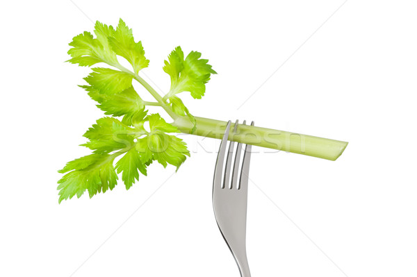 celery stalk on fork isolated Stock photo © leeavison