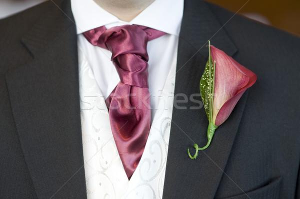 man with cravat and buttonhole flower Stock photo © leeavison