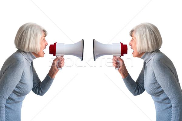 Altos mujer mujeres comunicación megáfono Foto stock © leeavison