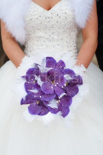 Esküvői csokor lila orchideák virágok Stock fotó © leeavison