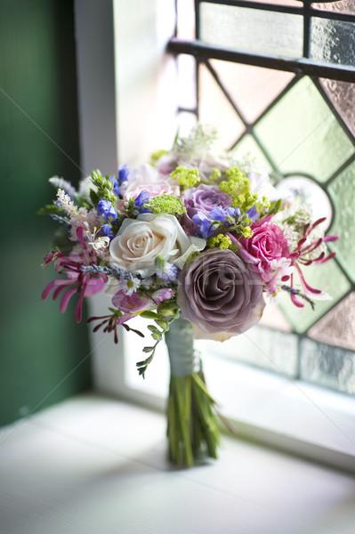 Stock fotó: Esküvői · csokor · ablak · virágok · virág · esküvő · rózsa