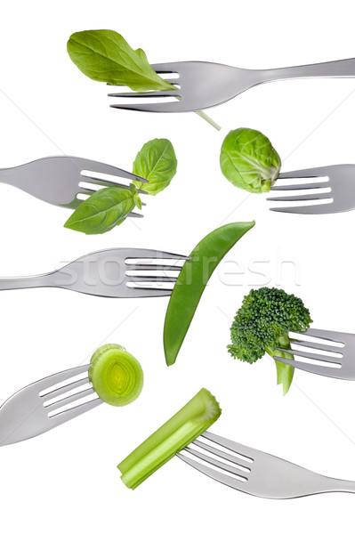 新鮮な 緑 野菜 孤立した 白 食品 ストックフォト © leeavison