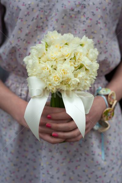Nárcisz esküvői csokor koszorúslány klasszikus ruha virágok Stock fotó © leeavison