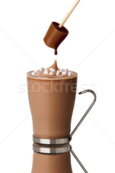 Sıcak çikolata içmek çikolata cam süt sopa Stok fotoğraf © leeavison