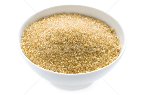 Stockfoto: Suiker · kom · geïsoleerd · witte · goud