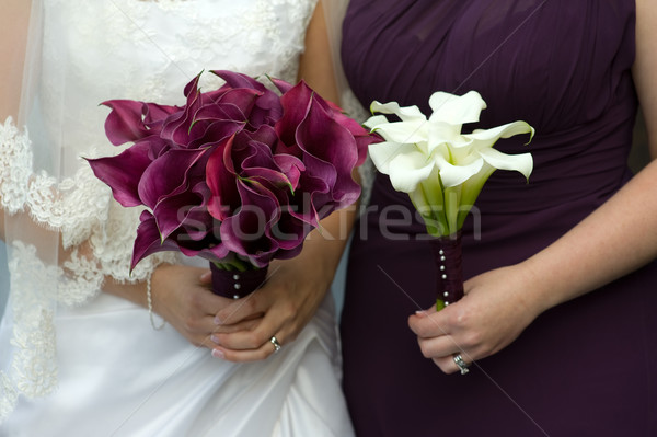 bride and bridesmaid with wedding flowers Stock photo © leeavison
