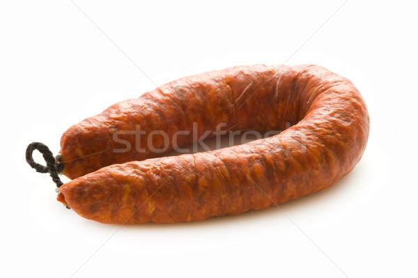 Spanyol chorizo disznóhús kolbász izolált megőrzött Stock fotó © leeavison
