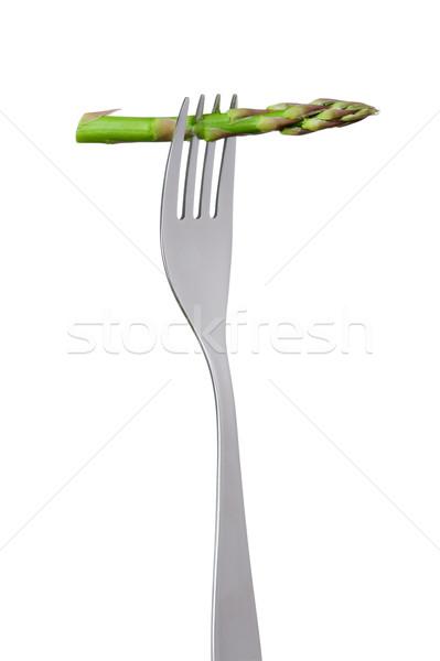 Espargos garfo lança isolado branco salada Foto stock © leeavison