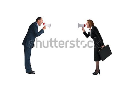 man and woman bullhorn isolated Stock photo © leeavison