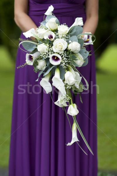 Koszorúslány lila esküvői csokor ruha tart esküvő Stock fotó © leeavison