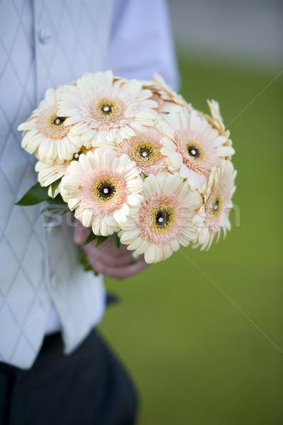 жених цветы рук свадьба Сток-фото © leeavison