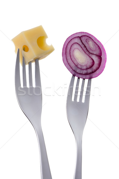 red onion and cheese on forks against white Stock photo © leeavison