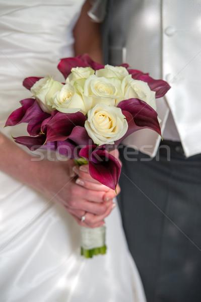 невеста жених свадьба цветы рук Сток-фото © leeavison