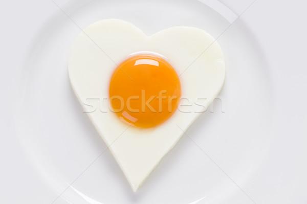 Stock fotó: Tükörtojás · szív · alak · szív · alakú · fehér · tányér