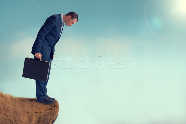 Stock photo: businessman gap worry fear obstacle