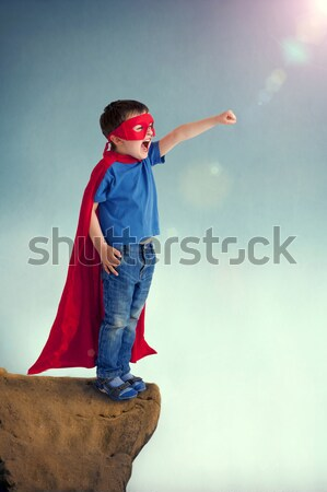 Süper kahraman çocuk mutlu erkek maske tek başına Stok fotoğraf © leeavison