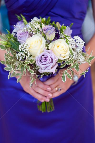 Dama de honor ramo de la boda blanco púrpura rosas Foto stock © leeavison