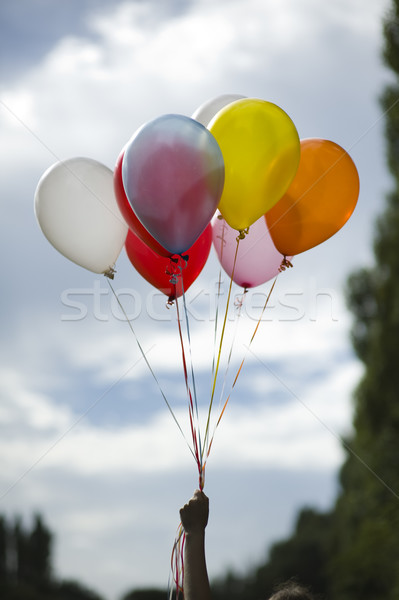 person holding colored helium balloons Stock photo © leeavison