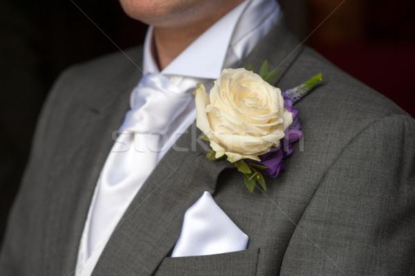 Man steeg knoopsgat bruiloft bloemen Stockfoto © leeavison