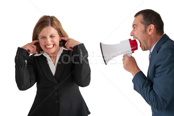 Stock photo: woman being yelled at by manager