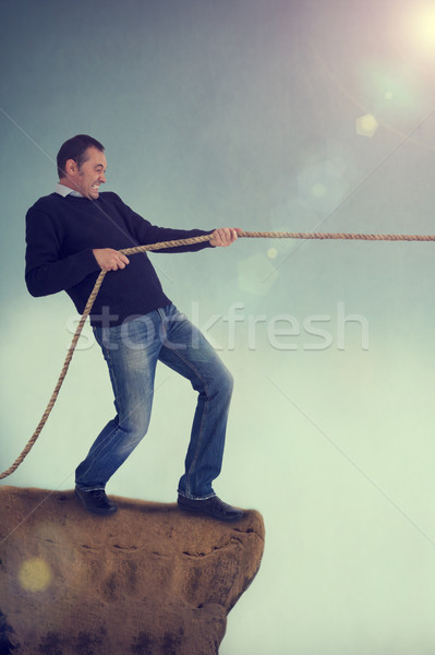 man tug of war pulling rope Stock photo © leeavison