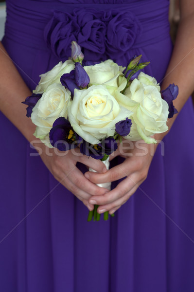 bridesmaid in purple  white rose bouquet Stock photo © leeavison