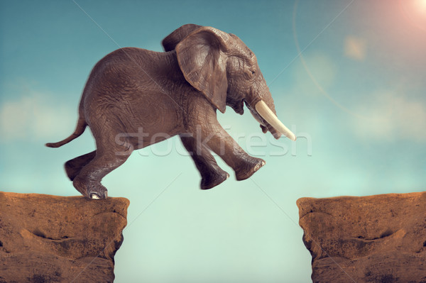 Stock photo: leap of faith concept elephant jumping across a crevasse