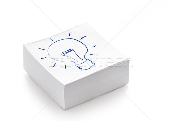 Villanykörte rajz boglya post it jegyzetek elektromosság Stock fotó © leeavison