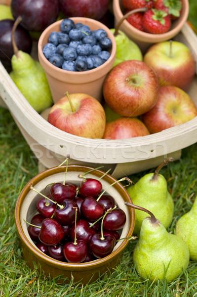Frutas de verão mirtilos cerejas maçãs peras morangos Foto stock © leeavison