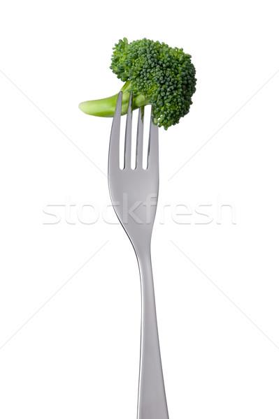 broccoli floret on fork isolated Stock photo © leeavison