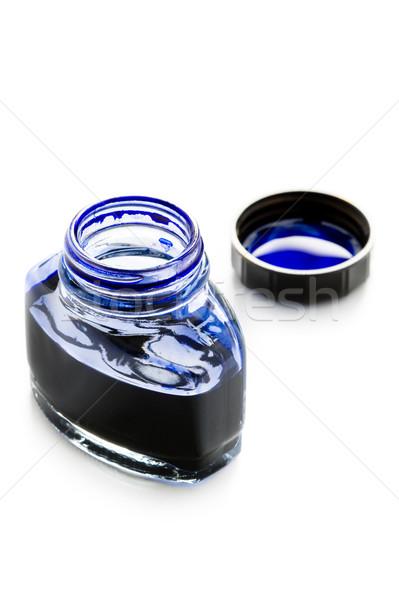 üveg tinta nyitva kék ír toll Stock fotó © leeavison