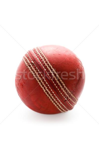 Stockfoto: Cricket · bal · geïsoleerd · gebruikt · witte · leder