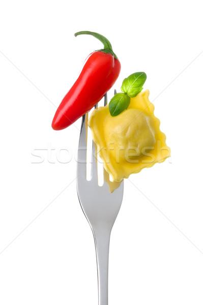 Ravioli basilic piment fourche rouge chaud Photo stock © leeavison