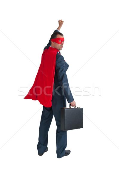 Szuperhős üzletember ököl fehér izolált üzlet Stock fotó © leeavison