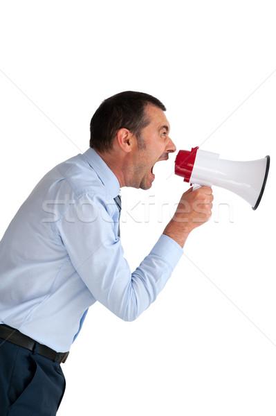 Imprenditore megafono isolato arrabbiato bianco Foto d'archivio © leeavison