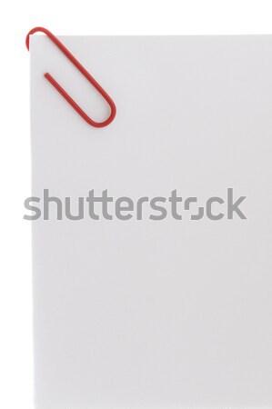 Kolorowy spinacz biały papieru arkusza biuro Zdjęcia stock © leeavison