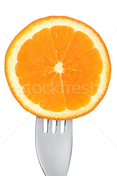 Foto d'archivio: Fresche · frutta · arancione · fetta · bianco · fetta · d'arancia · forcella