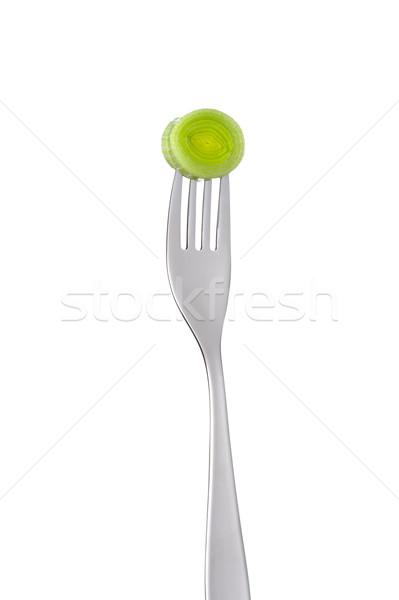 Póréhagyma villa izolált szelet zöldség fehér Stock fotó © leeavison