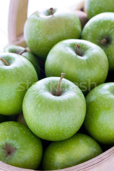 green granny smith apples in a wooden trug Stock photo © leeavison