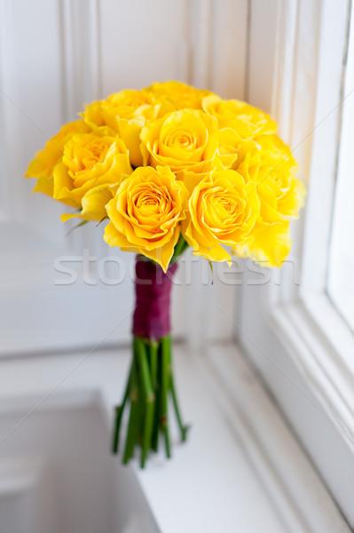 Ramo de la boda amarillo rosas ramo frescos flor Foto stock © leeavison
