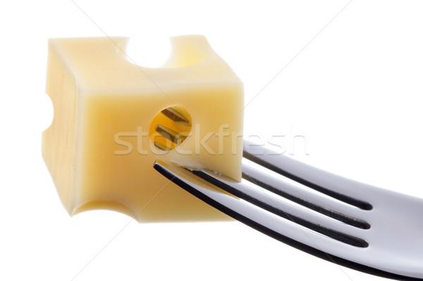 emmental cheese on fork against white background Stock photo © leeavison