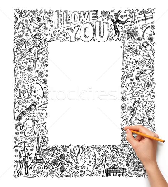 Idéia mão humana amor esboço lápis fundo Foto stock © leedsn