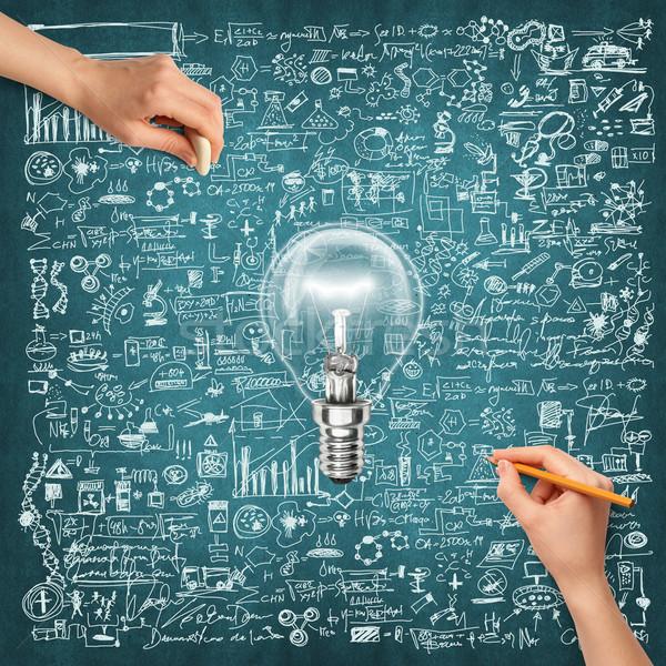 ötlet emberi kéz tudomány lámpa rajz ceruza Stock fotó © leedsn