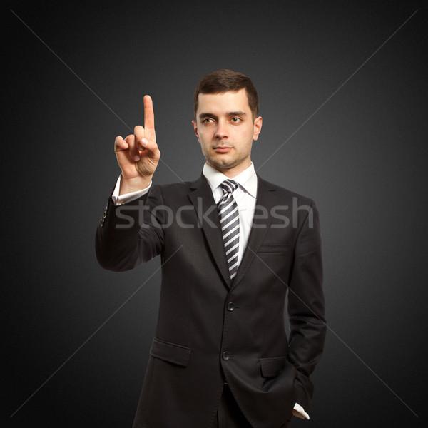 businessman push the button Stock photo © leedsn