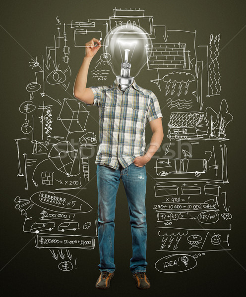 Stockfoto: Asian · mannelijke · lamp · iets · hand · pen