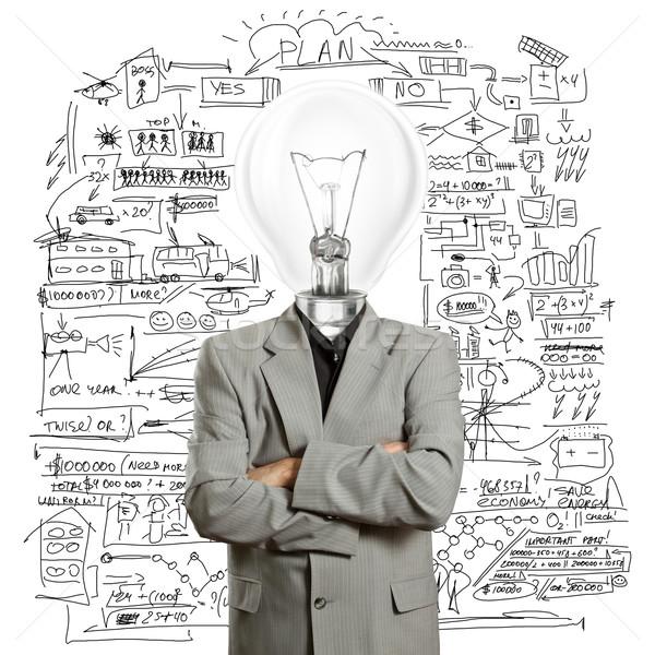 Stock foto: Lampe · Kopf · Geschäftsmann · Büro · Hand · Mann