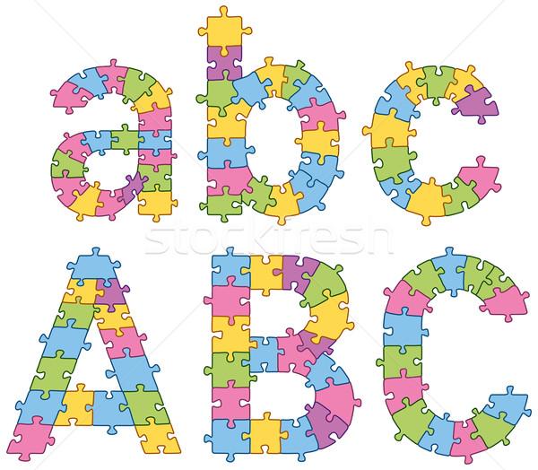 Puzzle Jigsaw Alphabet Letters Stock photo © leedsn