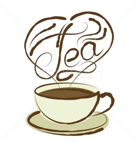 Vektor teáscsésze kalligrafikus felirat aroma forma Stock fotó © leedsn