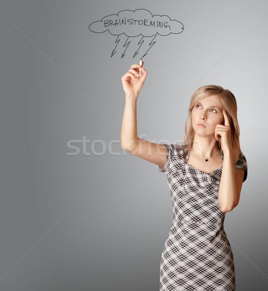 üzletasszony valami izolált fehér számítógép nő Stock fotó © leedsn